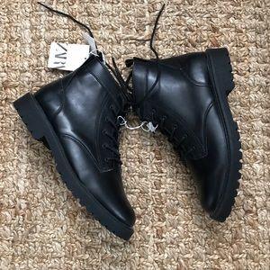 Zara vegan leather hi-top boots black 6 youth
